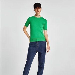NWT Zara Kelly Green Short Sleeve Knit Sweater